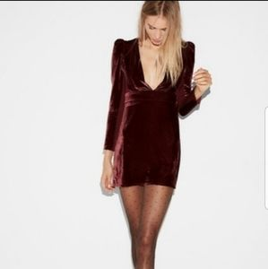 Express NWT Red Velvet V Neck Long Sleeve Dress